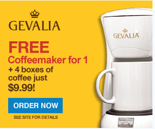Gevalia Grab 4 Boxes of Coffee or Tea for USD 9.99 and Score a FREE Coffee Maker!!