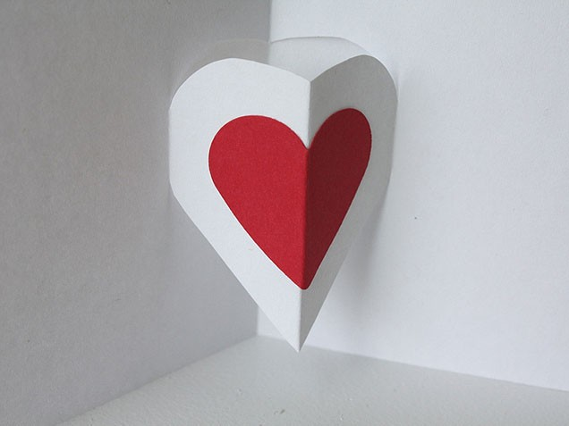 v day pop up heart card