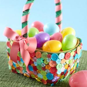 Button-Embellished Easter Basket