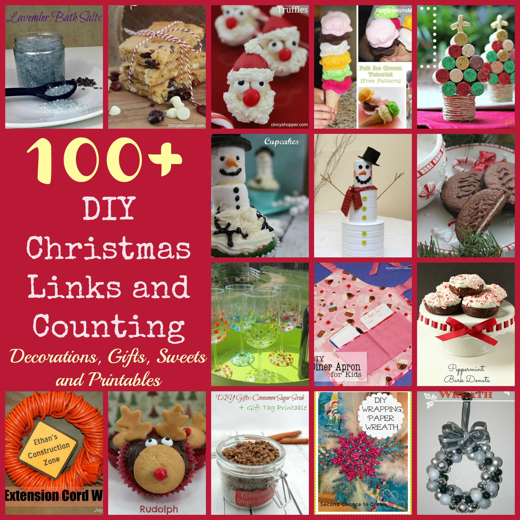100+ DIY Christmas Gifts, Decorations, Sweets and Printables