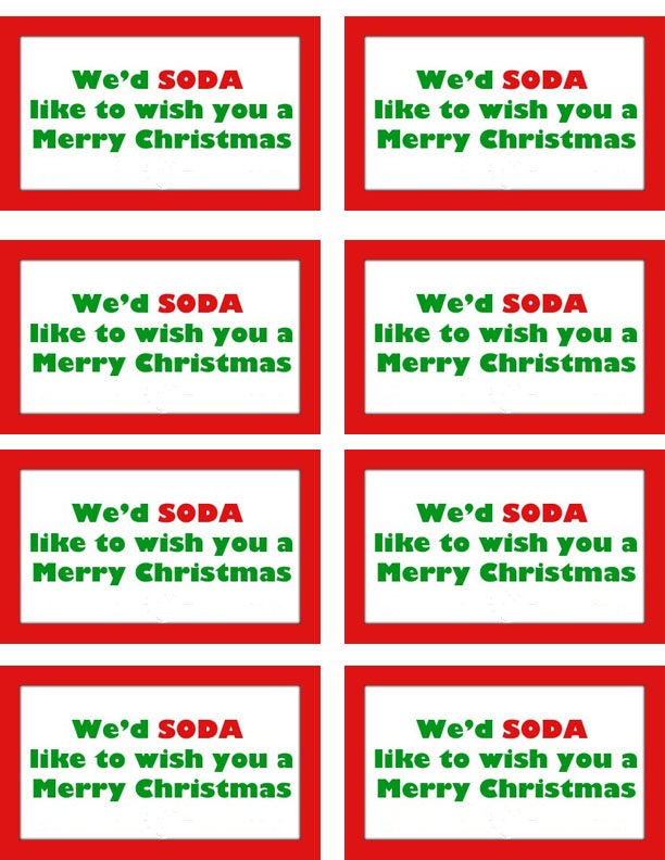 "Perfect Secret Santa Gift + FREE Gift Tag Printable ""We'd SODA ..."