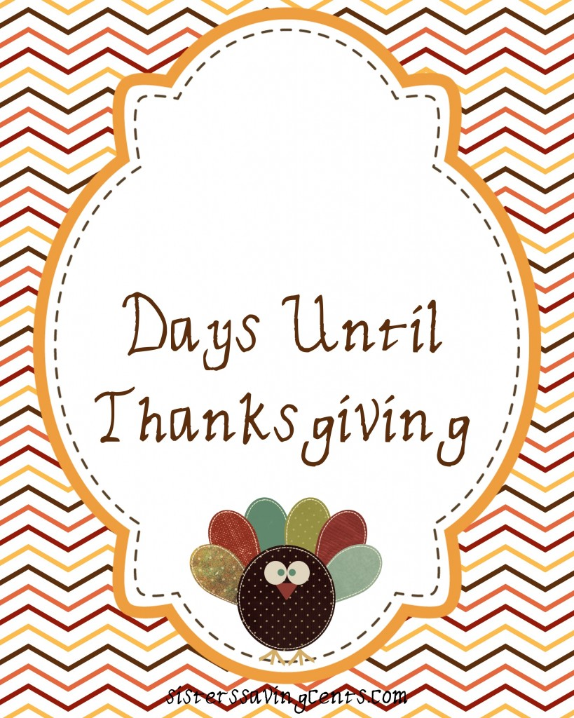 countdown to thanksgiving printable sheet