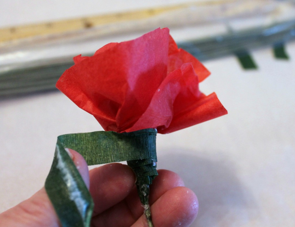 Roses 7, wrap base of flower and stem