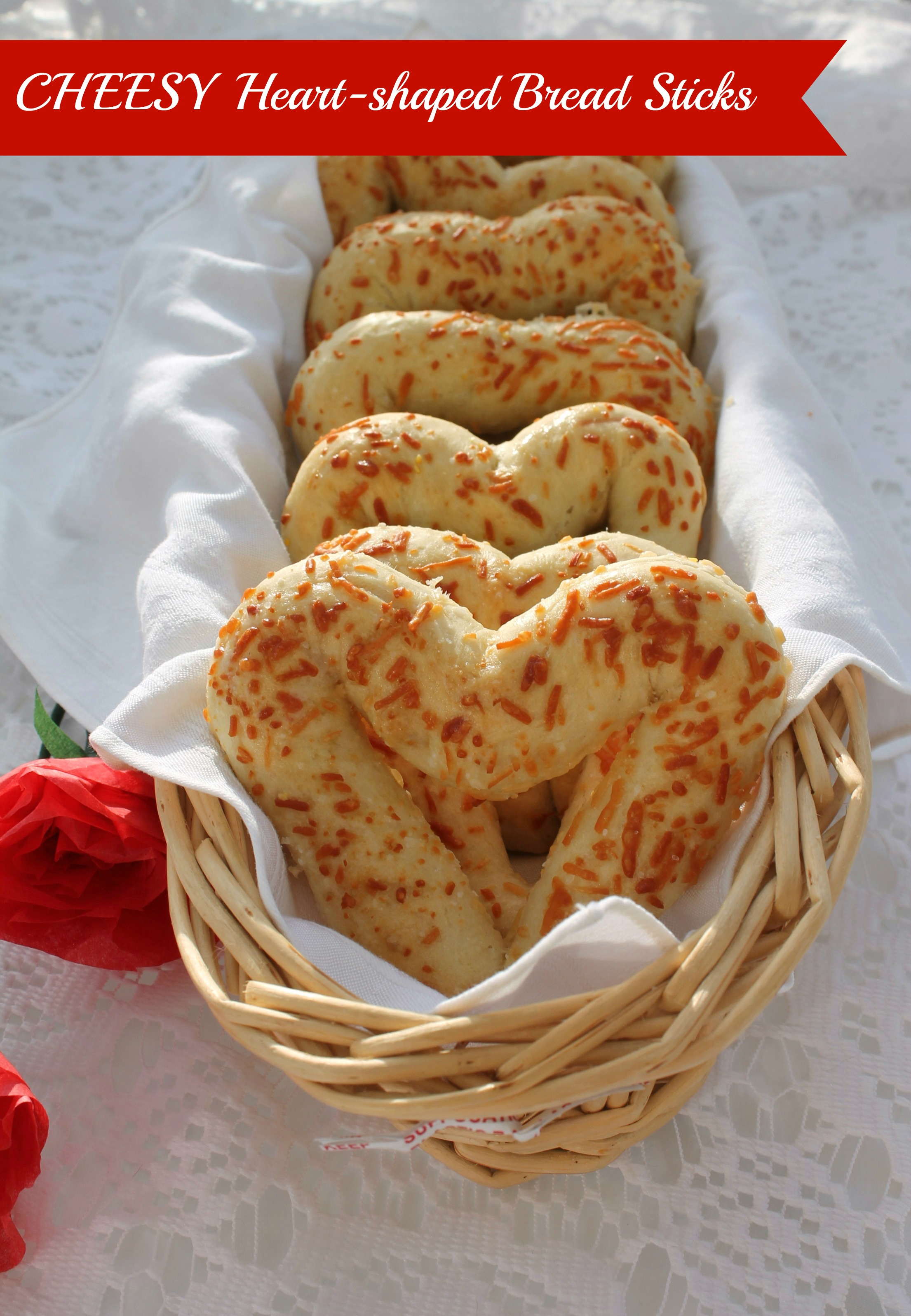 ... cheesy heart-shaped bread sticks will make it a special meal indeed