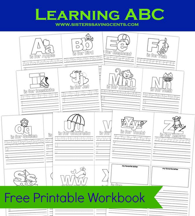 free abc's printable workbook banner