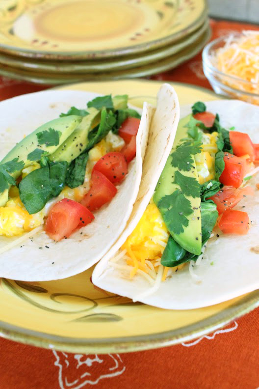 Wilted Spinach And Avocado Breakfast Tacos